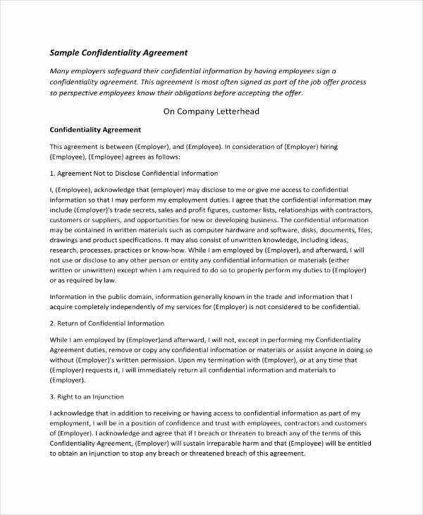 Employee Confidentiality Agreement Template Awesome 11 Employee Confidentiality Agreement Templates Pdf