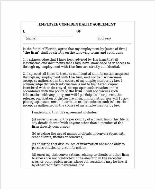 Employee Confidentiality Agreement Template Best Of 5 Employee Confidentiality Agreement Templates Word