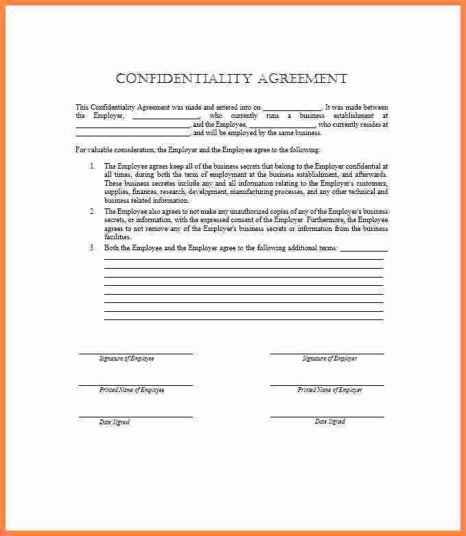 Employee Confidentiality Agreement Template Best Of 9 Employee Confidentiality Agreement Template