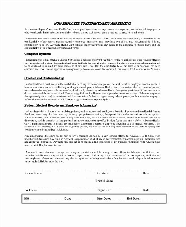 Employee Confidentiality Agreement Template Best Of Sample Employee Confidentiality Agreement 8 Documents