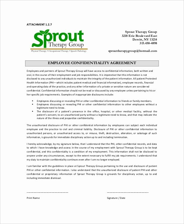 Employee Confidentiality Agreement Template Fresh 16 Employee Confidentiality Agreement Templates Free