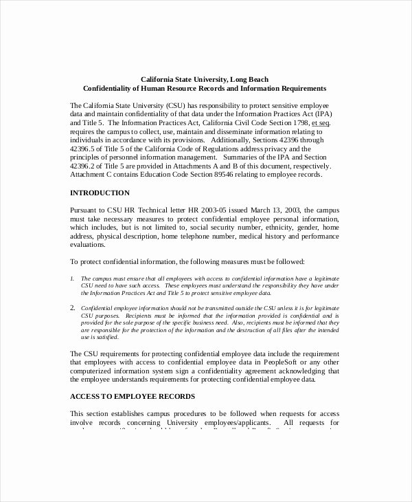 Employee Confidentiality Agreement Template Inspirational Hr Confidentiality Agreement – Cnbam