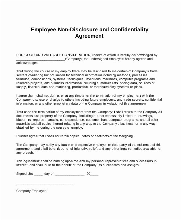 Employee Confidentiality Agreement Template Lovely Employee Non Disclosure Agreement Pdf