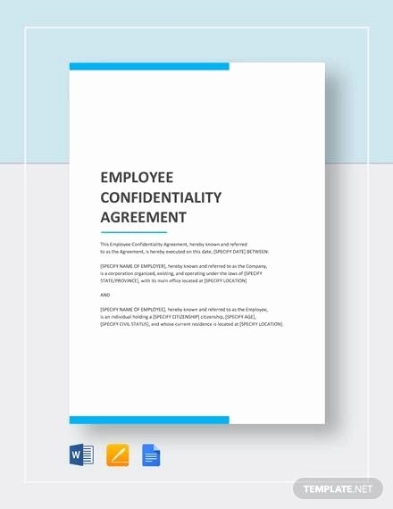 Employee Confidentiality Agreement Template New Sample Employee Confidentiality Agreement 8 Documents