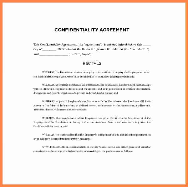 Employee Confidentiality Agreement Template Unique 9 Staff Confidentiality Agreement Template