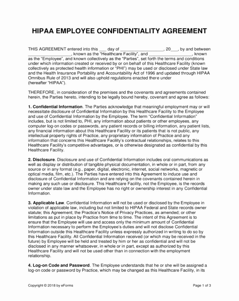 Employee Confidentiality Agreement Template Unique Confidentiality Agreement Employee