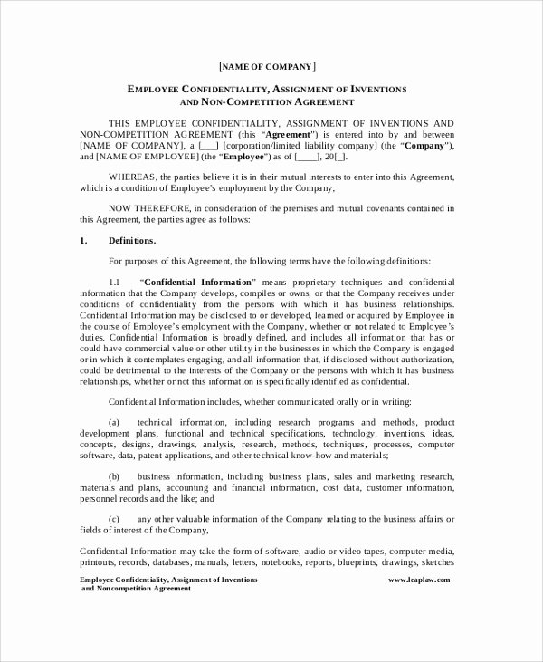 Employee Confidentiality Agreement Template Unique Sample Employee Confidentiality Agreement 8 Documents