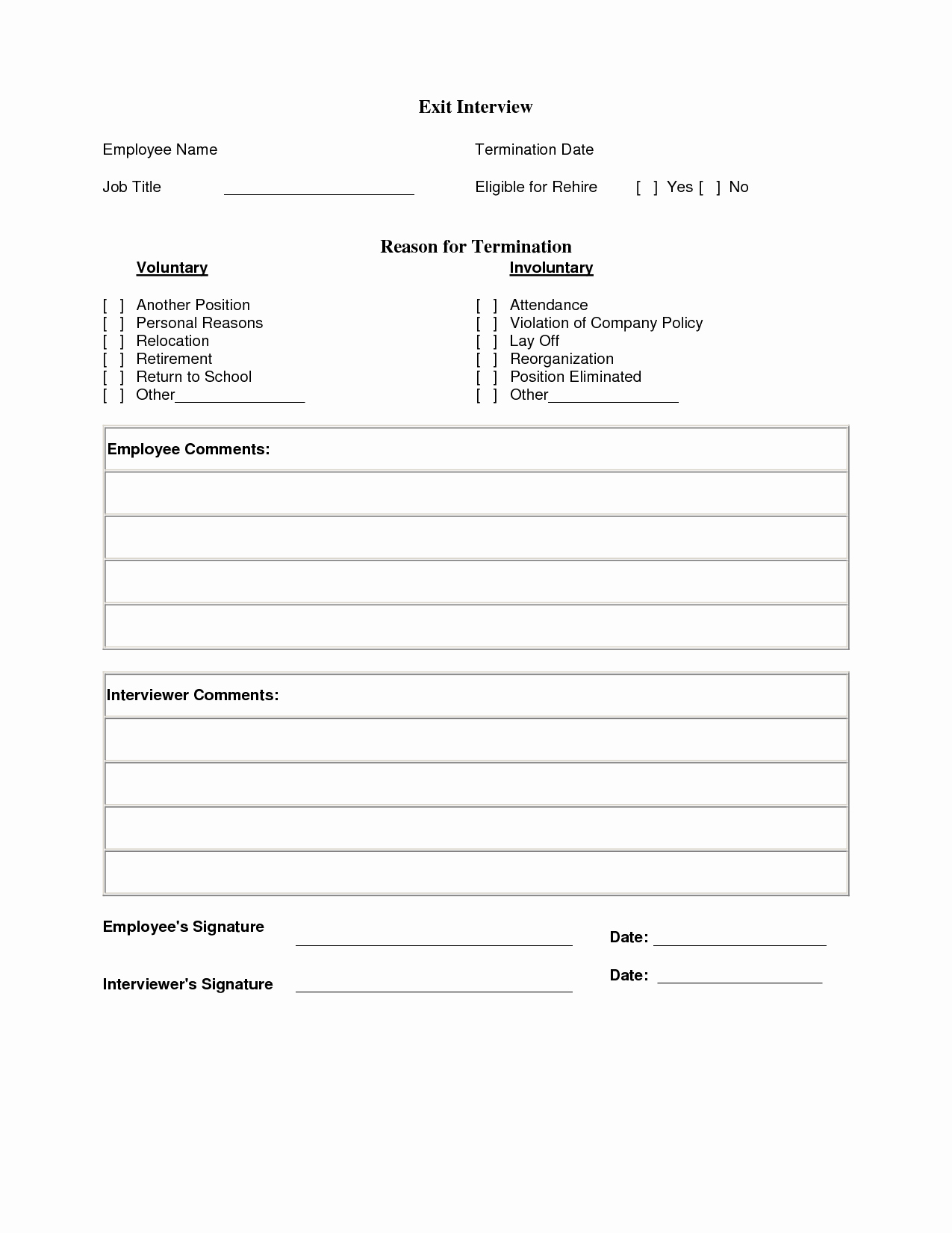 Employee Exit Interview form Awesome Exit Interview Template