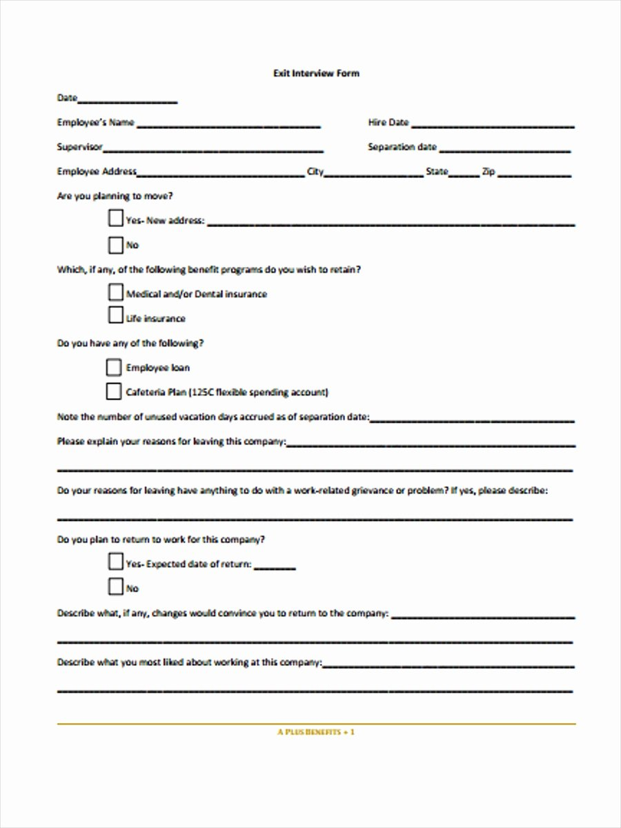Employee Exit Interview form Lovely Free 38 Interview form Templates