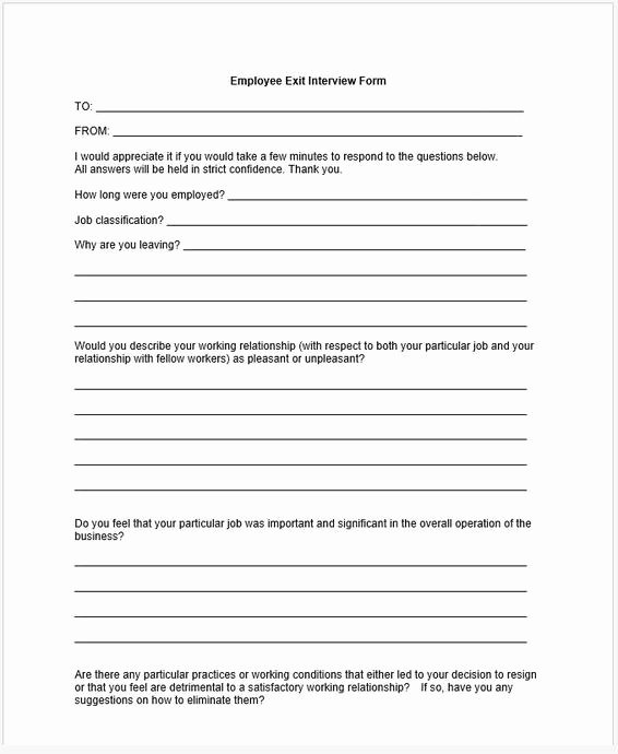Employee Exit Interview form Lovely Templates forms and Worksheets