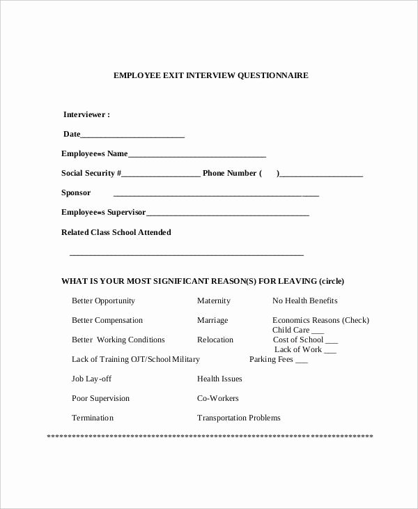Employee Exit Interview form New Free 22 Interview Questionnaire Examples In Pdf