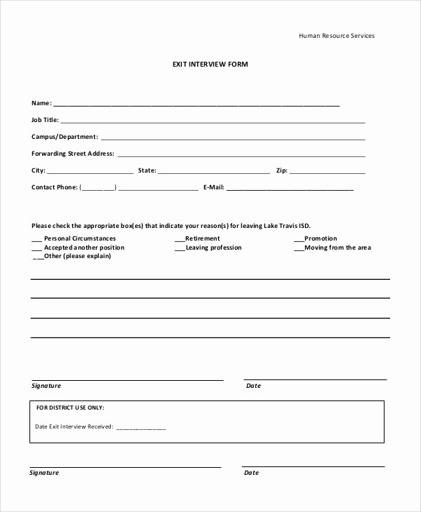 Employee Exit Interview form Unique Sample Exit Interview form 10 Examples In Pdf Word