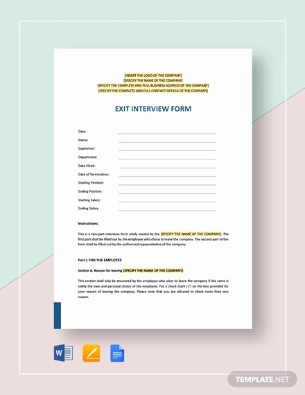 Employee Exit Interview forms Elegant 136 Free Hr forms Word Pdf Excel Google Docs