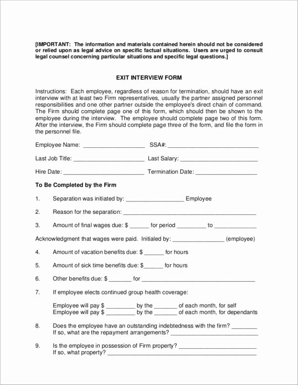 Employee Exit Interview forms Elegant Free 6 Exit Interview forms Samples & Templates In Pdf
