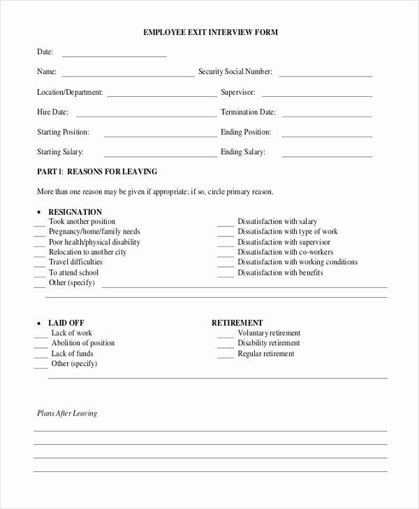 Employee Exit Interview forms Luxury Free 10 Sample Exit Interview forms In Pdf