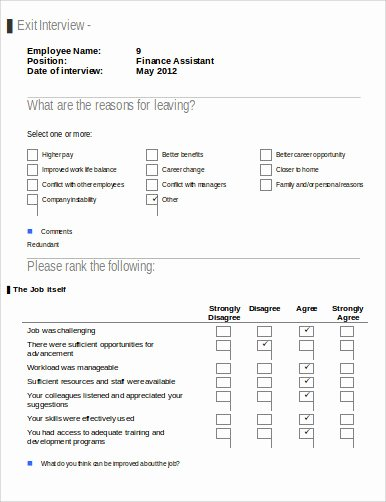 Employee Exit Interview forms Luxury Sample Employee Exit form 9 Examples In Word Pdf
