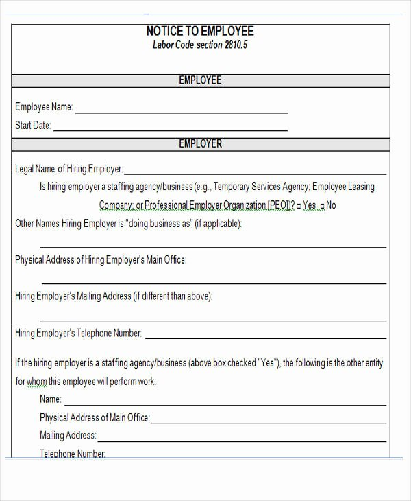 Employee Termination form Pdf Beautiful 16 Notice forms In Word