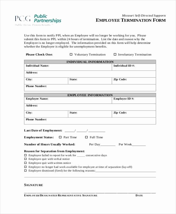 Employee Termination form Pdf Beautiful Free 8 Employee Termination form Samples In Sample