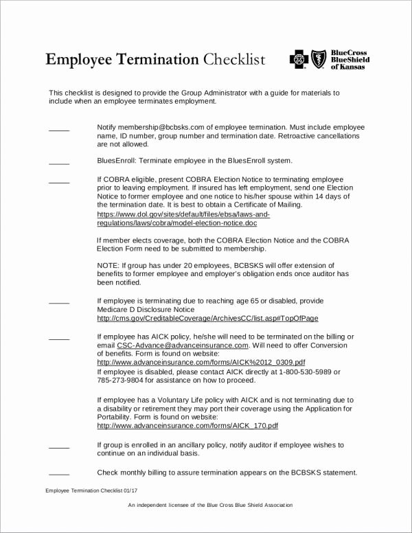 Employee Termination form Pdf Elegant Free 13 Termination Checklist Samples & Templates In Word