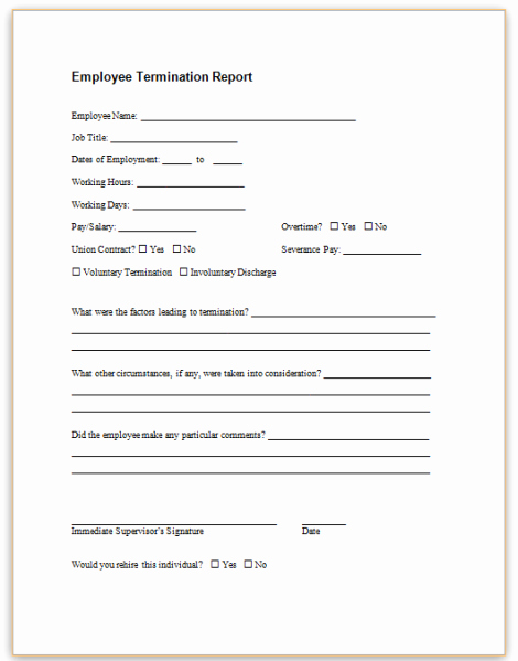 Employee Termination form Pdf Fresh form Specifications