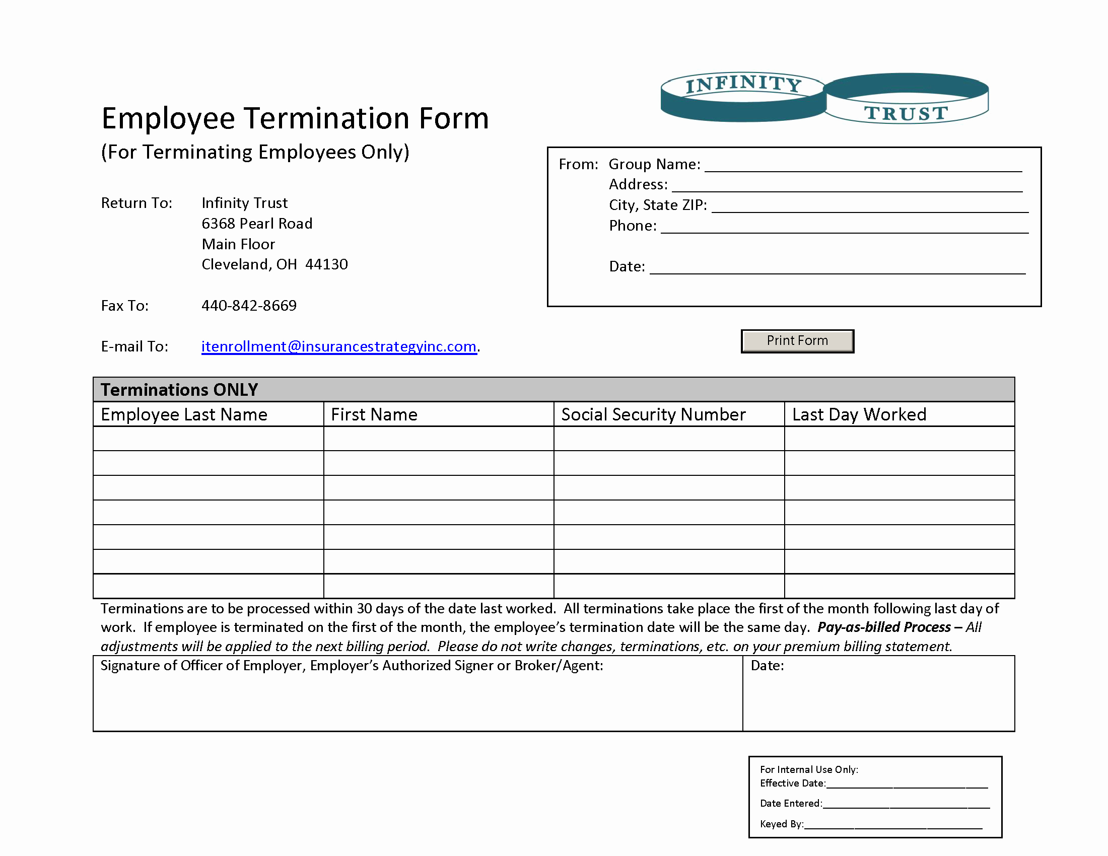 Employee Termination form Pdf Luxury Insurance Strategy Inc