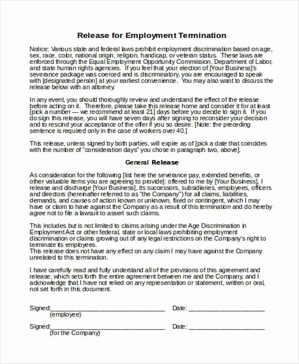 Employee Termination form Pdf Unique Free 8 Employee Termination form Samples In Sample