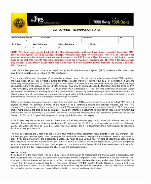 Employee Termination form Pdf Unique Sample Employment forms In Pdf 34 Free Documents In