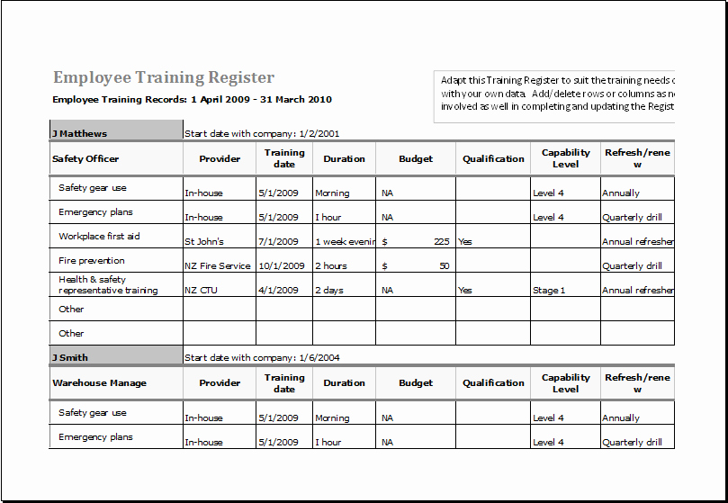Employee Training Matrix Template Excel Inspirational Employee Training Register Ms Excel Fully Customizable Template