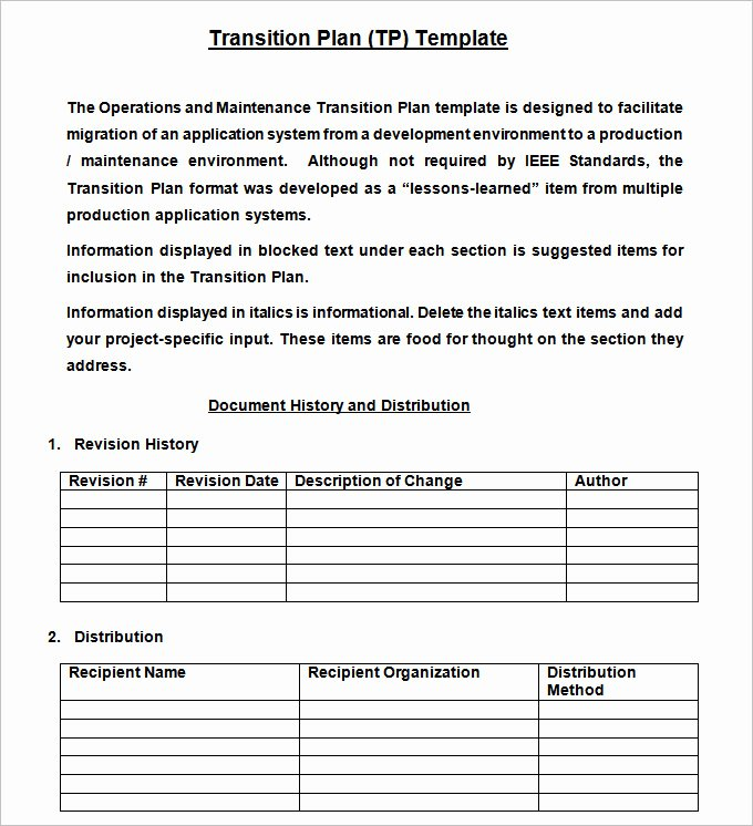 Employee Transition Plan Template Fresh Transition Plan Template Free Word Excel Pdf Documents Download