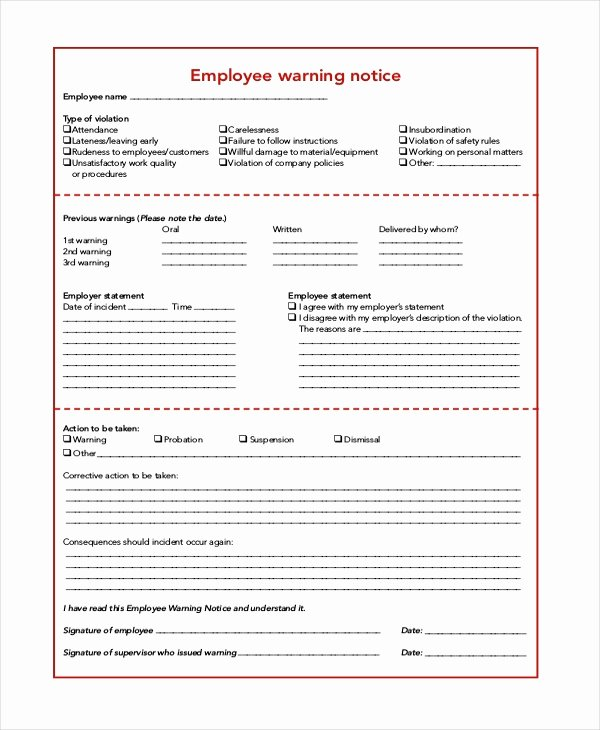 Employee Warning Notice form Best Of Free 6 Sample Employee Warning Notice forms
