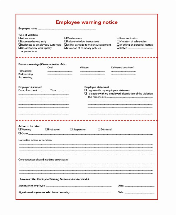 Employee Warning Notice form Inspirational Employee Warning Notice