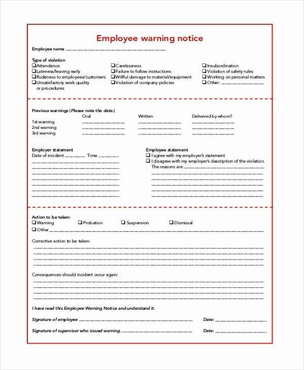 Employee Warning Notice form Inspirational Employee Warning Notice