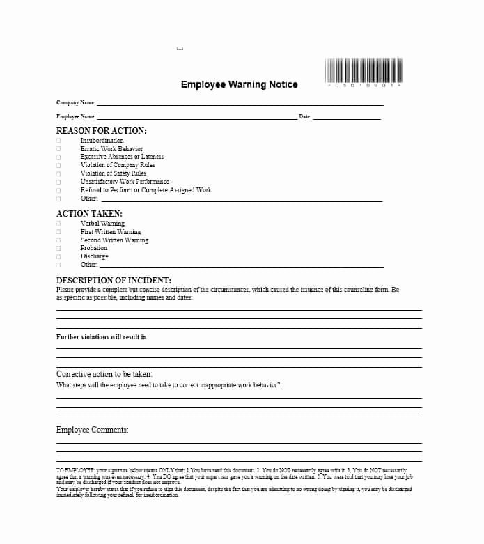 Employee Warning Notice form New Employee Warning Notice form
