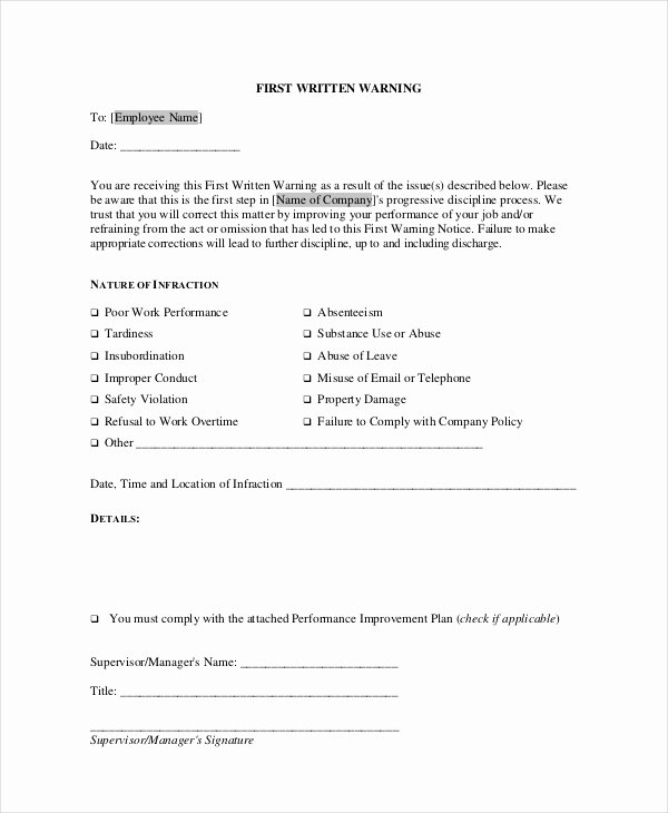 Employee Warning Notice Template Word Inspirational 12 Printable Employee Warning Notice Templates Google Docs Ms Word Apple Pages Pdf