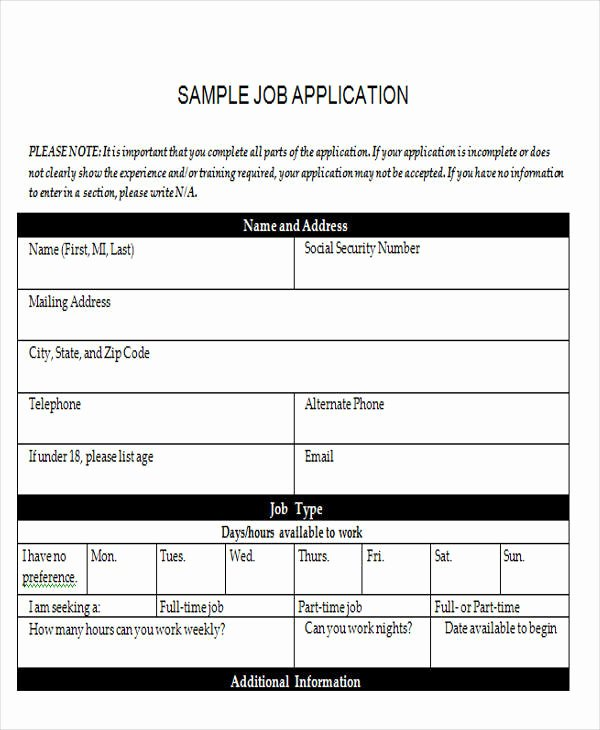 Employment Application form Doc Best Of 43 Sample Application form Templates In Doc