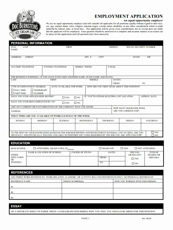 Employment Application form Doc Lovely Free Printable Job Application form Template form Generic