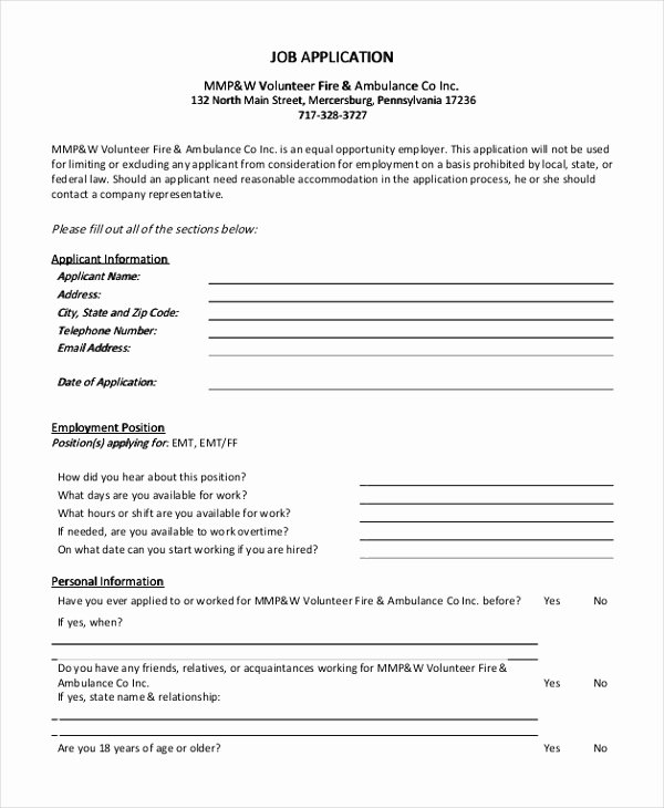 Employment Application form Doc Luxury Free 9 Sample Generic Job Application forms In Pdf