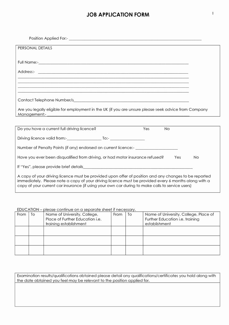 Employment Application form Doc Luxury Job Application Blank Free Printable Documents