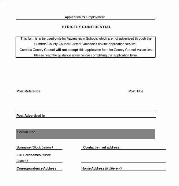 Employment Application form Doc Unique Employment Application Templates – 10 Free Word Pdf