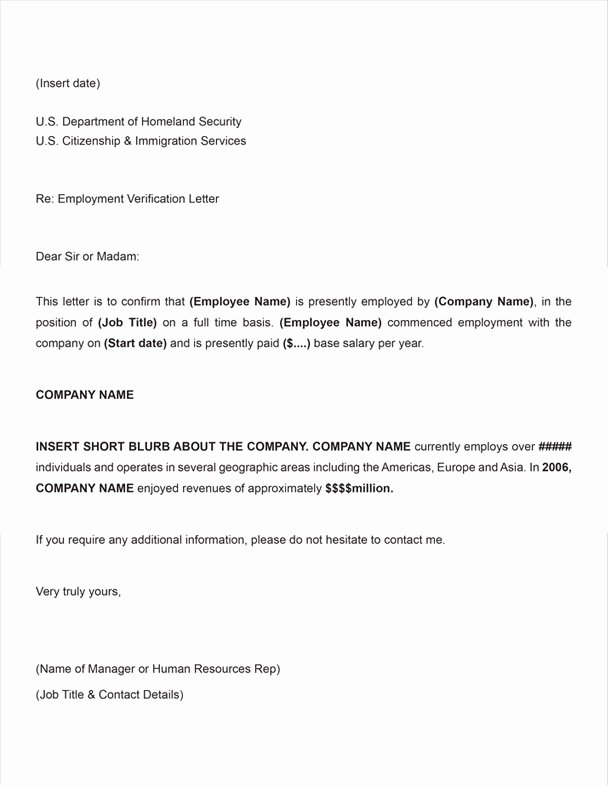 Employment Verification Letter for Immigration Fresh Free Printable Letter Employment Verification form Generic