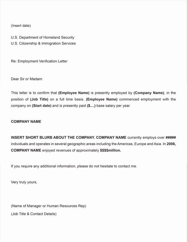 Employment Verification Letter for Immigration Fresh Free Printable Letter Employment Verification form Generic