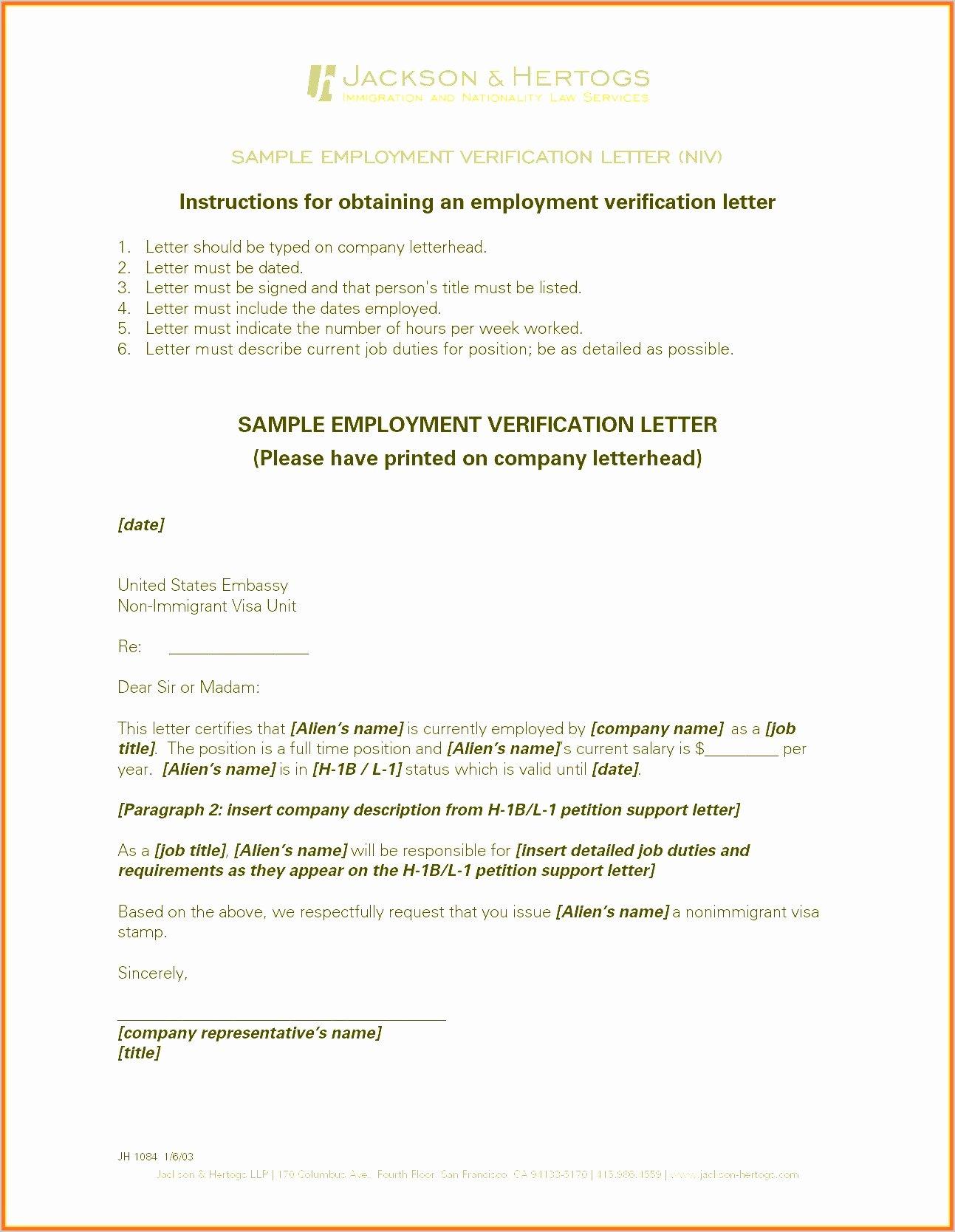 Employment Verification Letter for Immigration Inspirational 10 Employment Verification Letter Sample for Immigration Sampletemplatez
