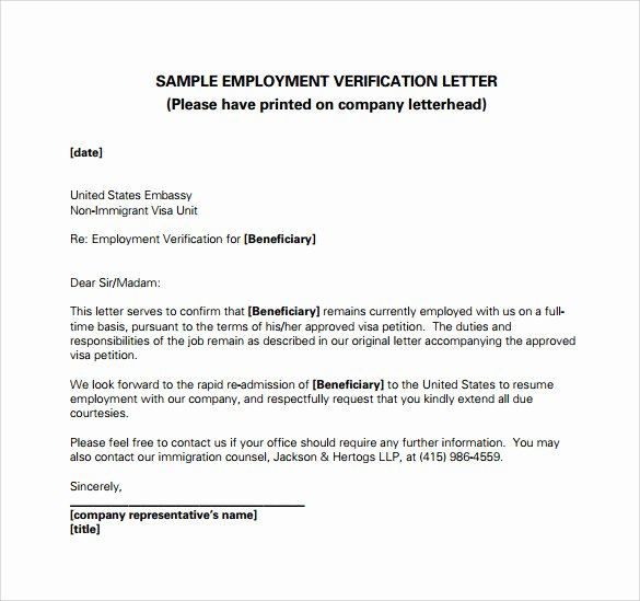 Employment Verification Letter for Immigration Luxury Employment Verification Letter 14 Download Free Documents In Pdf Word