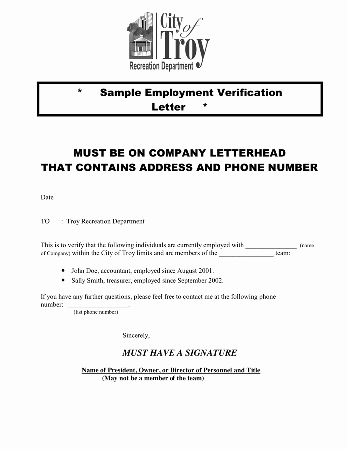 Employment Verification Letter for Immigration Unique Letter Of Employment Verification Template