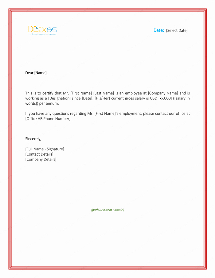Employment Verification Letter for Visa Inspirational Employment Verification Letter 4 Printable formats