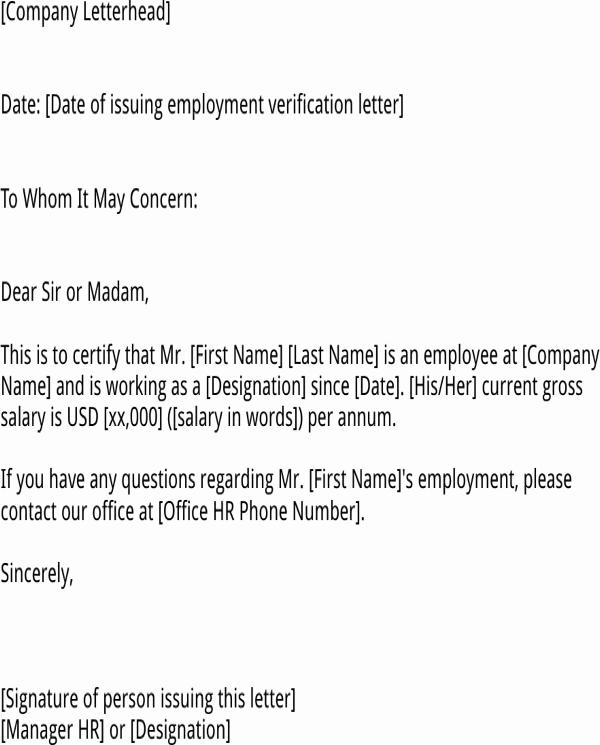 Employment Verification Letter for Visa Lovely Download Employment Verification Letter for Us Visa for
