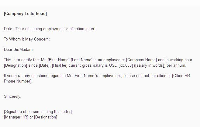 Employment Verification Letter for Visa Lovely Employment Letter for Visa