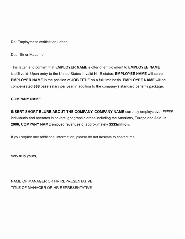 Employment Verification Letter for Visa Unique H 1b Employment Verification Sample Letter