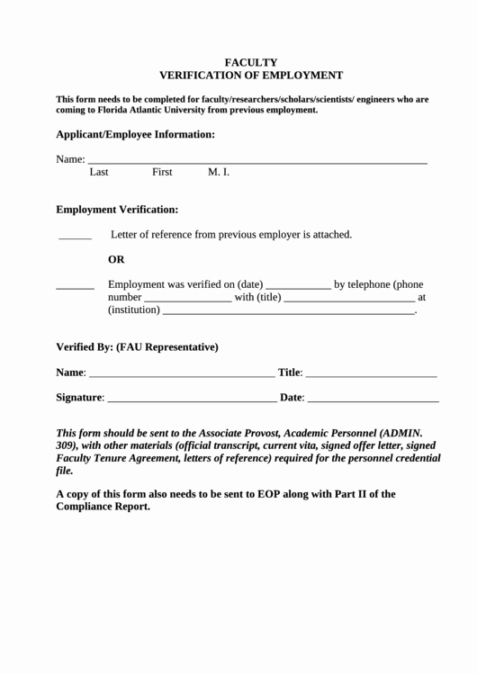 Employment Verification Release form Awesome Sample Faculty Verification Employment form Printable