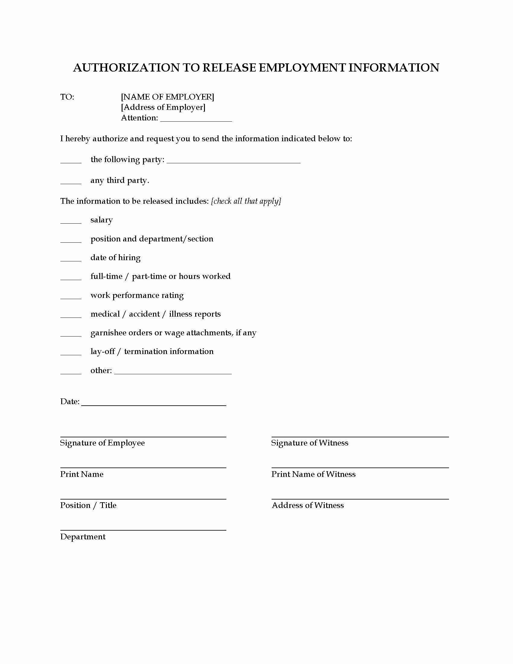 Employment Verification Release form Elegant Consent to Release Employment Information